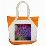 Flower Of Life Indian Ornaments Mandala Universe Accent Tote Bag Front