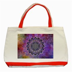 Flower Of Life Indian Ornaments Mandala Universe Classic Tote Bag (red) by EDDArt