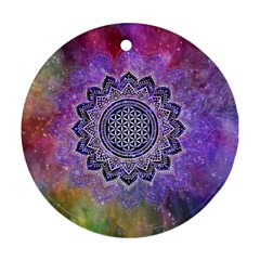 Flower Of Life Indian Ornaments Mandala Universe Round Ornament (two Sides)  by EDDArt