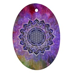 Flower Of Life Indian Ornaments Mandala Universe Oval Ornament (two Sides) by EDDArt