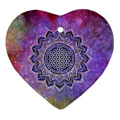 Flower Of Life Indian Ornaments Mandala Universe Heart Ornament (2 Sides) by EDDArt