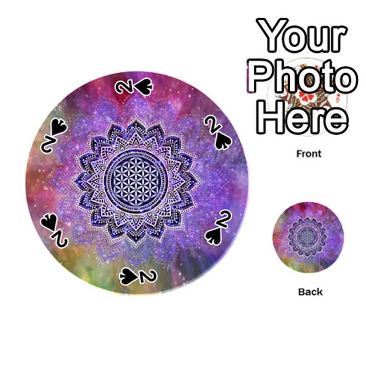 Flower Of Life Indian Ornaments Mandala Universe Playing Cards 54 (Round)