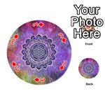 Flower Of Life Indian Ornaments Mandala Universe Playing Cards 54 (Round)  Front - Diamond3
