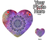 Flower Of Life Indian Ornaments Mandala Universe Playing Cards 54 (Heart)  Front - Heart4