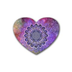 Flower Of Life Indian Ornaments Mandala Universe Heart Coaster (4 Pack)  by EDDArt