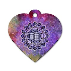 Flower Of Life Indian Ornaments Mandala Universe Dog Tag Heart (one Side) by EDDArt