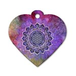 Flower Of Life Indian Ornaments Mandala Universe Dog Tag Heart (Two Sides) Front