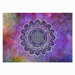 Flower Of Life Indian Ornaments Mandala Universe Large Glasses Cloth by EDDArt