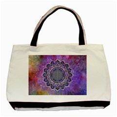 Flower Of Life Indian Ornaments Mandala Universe Basic Tote Bag (two Sides) by EDDArt