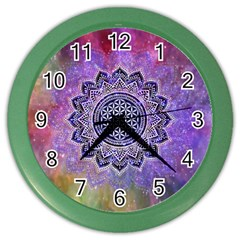 Flower Of Life Indian Ornaments Mandala Universe Color Wall Clocks by EDDArt