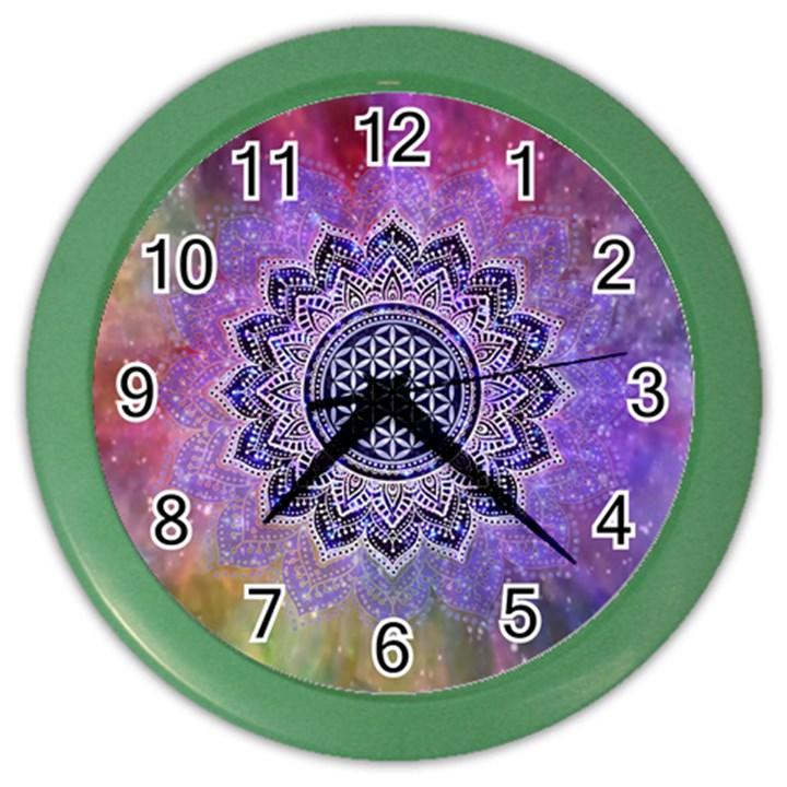 Flower Of Life Indian Ornaments Mandala Universe Color Wall Clocks