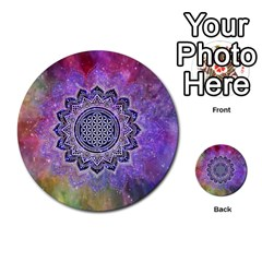 Flower Of Life Indian Ornaments Mandala Universe Multi Purpose Cards (round)