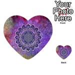 Flower Of Life Indian Ornaments Mandala Universe Multi-purpose Cards (Heart)  Back 8