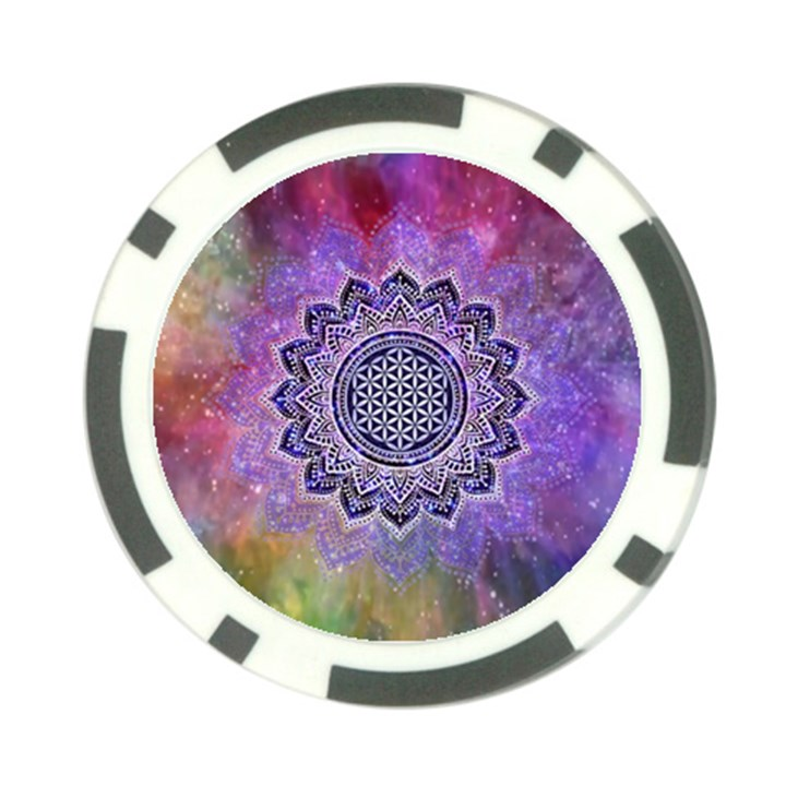 Flower Of Life Indian Ornaments Mandala Universe Poker Chip Card Guards (10 pack)