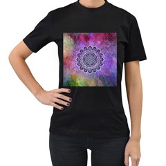 Flower Of Life Indian Ornaments Mandala Universe Women s T Shirt (black)