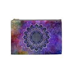 Flower Of Life Indian Ornaments Mandala Universe Cosmetic Bag (medium)  by EDDArt