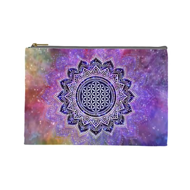 Flower Of Life Indian Ornaments Mandala Universe Cosmetic Bag (Large)
