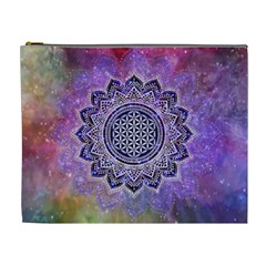 Flower Of Life Indian Ornaments Mandala Universe Cosmetic Bag (xl) by EDDArt