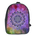 Flower Of Life Indian Ornaments Mandala Universe School Bags(Large)  Front
