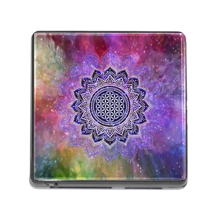 Flower Of Life Indian Ornaments Mandala Universe Memory Card Reader (Square)