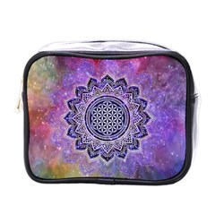 Flower Of Life Indian Ornaments Mandala Universe Mini Toiletries Bags by EDDArt