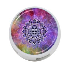 Flower Of Life Indian Ornaments Mandala Universe 4 Port Usb Hub (one Side) by EDDArt