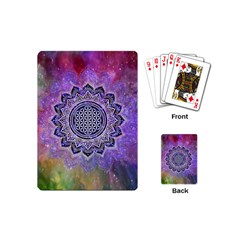 Flower Of Life Indian Ornaments Mandala Universe Playing Cards (mini)  by EDDArt