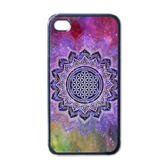 Flower Of Life Indian Ornaments Mandala Universe Apple Iphone 4 Case (black) by EDDArt