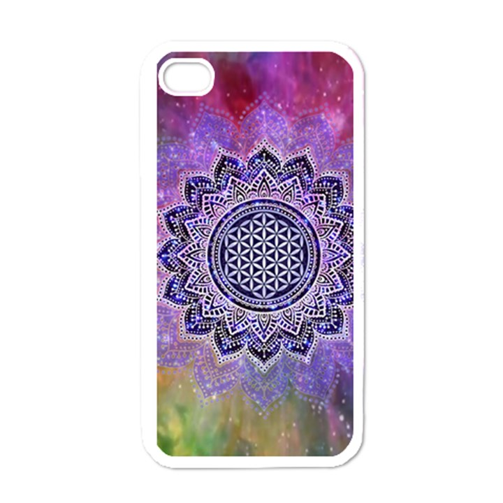 Flower Of Life Indian Ornaments Mandala Universe Apple iPhone 4 Case (White)