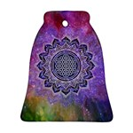 Flower Of Life Indian Ornaments Mandala Universe Ornament (Bell)  Front
