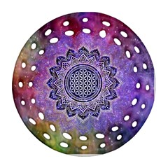 Flower Of Life Indian Ornaments Mandala Universe Round Filigree Ornament (2side) by EDDArt