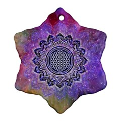 Flower Of Life Indian Ornaments Mandala Universe Snowflake Ornament (2 Side) by EDDArt