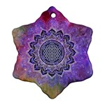 Flower Of Life Indian Ornaments Mandala Universe Snowflake Ornament (2-Side) Front