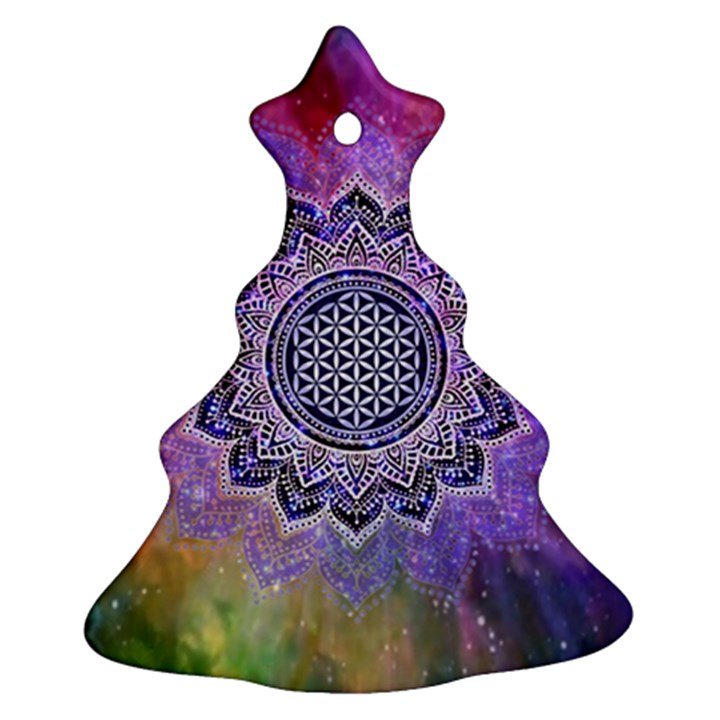 Flower Of Life Indian Ornaments Mandala Universe Christmas Tree Ornament (2 Sides)