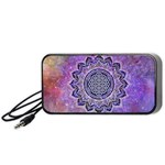 Flower Of Life Indian Ornaments Mandala Universe Portable Speaker (Black)  Front