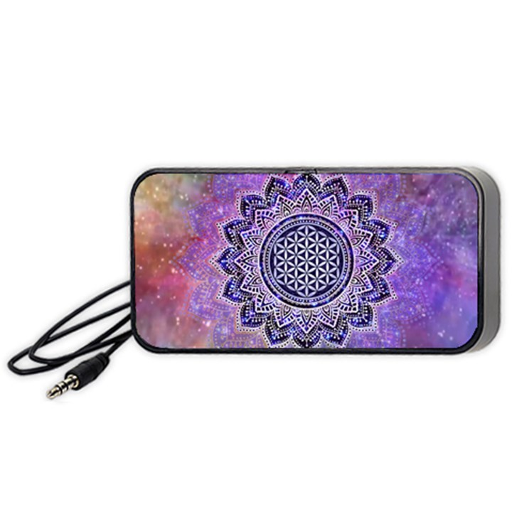 Flower Of Life Indian Ornaments Mandala Universe Portable Speaker (Black)