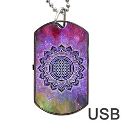 Flower Of Life Indian Ornaments Mandala Universe Dog Tag Usb Flash (two Sides)  by EDDArt