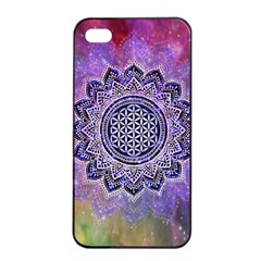 Flower Of Life Indian Ornaments Mandala Universe Apple Iphone 4/4s Seamless Case (black) by EDDArt