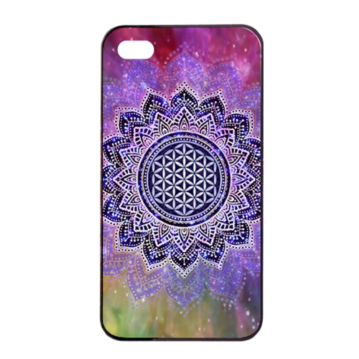 Flower Of Life Indian Ornaments Mandala Universe Apple iPhone 4/4s Seamless Case (Black)