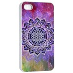 Flower Of Life Indian Ornaments Mandala Universe Apple iPhone 4/4s Seamless Case (White) Front