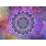 Flower Of Life Indian Ornaments Mandala Universe Heart 3D Greeting Card (7x5) Back