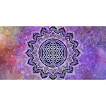 Flower Of Life Indian Ornaments Mandala Universe Twin Heart Bottom 3D Greeting Card (8x4) Front