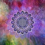 Flower Of Life Indian Ornaments Mandala Universe Twin Heart Bottom 3D Greeting Card (8x4) Inside