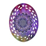 Flower Of Life Indian Ornaments Mandala Universe Oval Filigree Ornament (2-Side)  Front