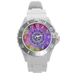 Flower Of Life Indian Ornaments Mandala Universe Round Plastic Sport Watch (l) by EDDArt