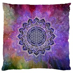 Flower Of Life Indian Ornaments Mandala Universe Large Cushion Case (two Sides) by EDDArt