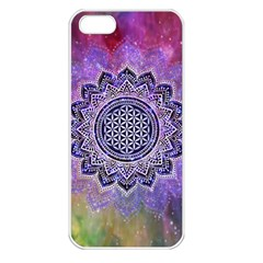 Flower Of Life Indian Ornaments Mandala Universe Apple Iphone 5 Seamless Case (white) by EDDArt