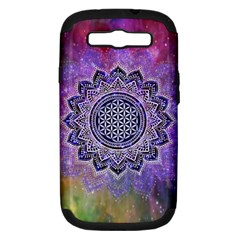 Flower Of Life Indian Ornaments Mandala Universe Samsung Galaxy S Iii Hardshell Case (pc+silicone)