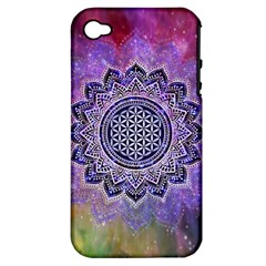 Flower Of Life Indian Ornaments Mandala Universe Apple Iphone 4/4s Hardshell Case (pc+silicone) by EDDArt