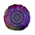 Flower Of Life Indian Ornaments Mandala Universe Standard 15  Premium Round Cushions Front